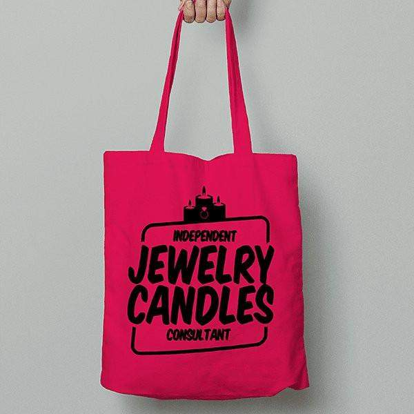 Black on Hot Pink Canvas Tote Bag - Jewelry Clothing-Jewelry Clothing-The Official Website of Jewelry Candles - Find Jewelry In Candles!