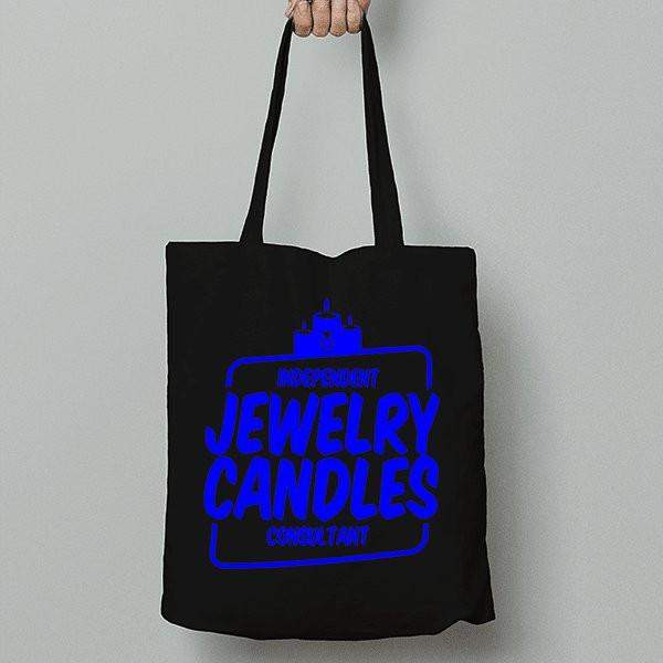 Blue on Black Canvas Tote Bag - Jewelry Clothing-Jewelry Clothing-The Official Website of Jewelry Candles - Find Jewelry In Candles!