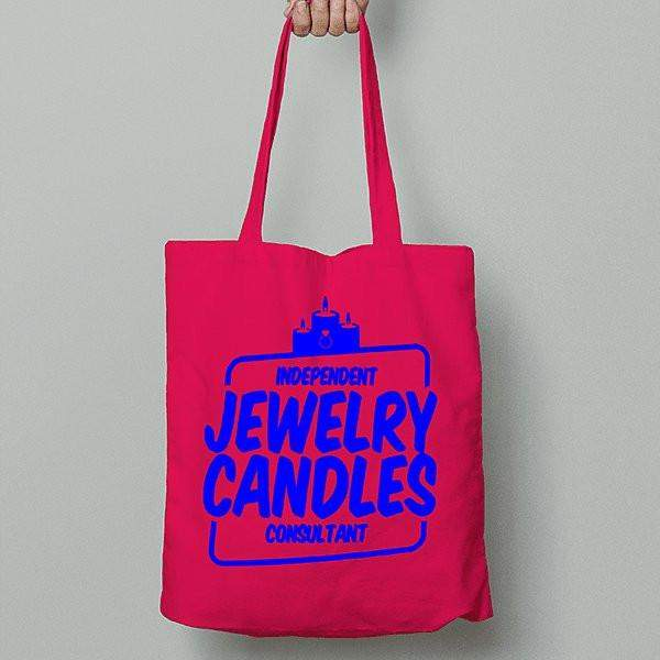 Blue on Hot Pink Canvas Tote Bag - Jewelry Clothing-Jewelry Clothing-The Official Website of Jewelry Candles - Find Jewelry In Candles!