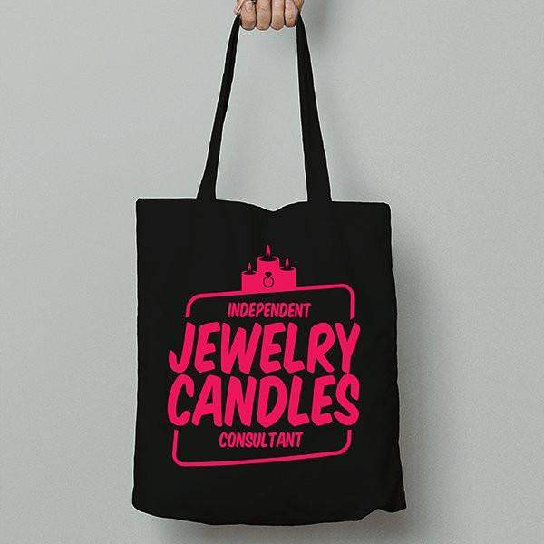 Hot Pink on Black Canvas Tote Bag - Jewelry Clothing-Jewelry Clothing-The Official Website of Jewelry Candles - Find Jewelry In Candles!