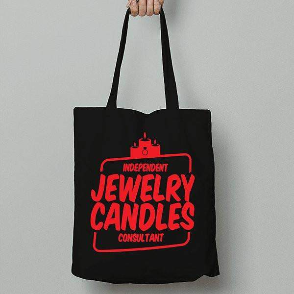 Red on Black Canvas Tote Bag - Jewelry Clothing-Jewelry Clothing-The Official Website of Jewelry Candles - Find Jewelry In Candles!