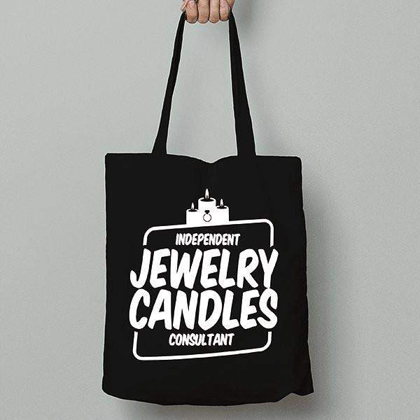 White on Black Canvas Tote Bag - Jewelry Clothing-Jewelry Clothing-The Official Website of Jewelry Candles - Find Jewelry In Candles!