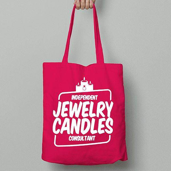 White on Hot Pink Canvas Tote Bag - Jewelry Clothing-Jewelry Clothing-The Official Website of Jewelry Candles - Find Jewelry In Candles!
