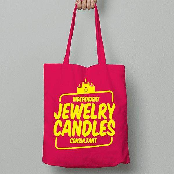 Yellow on Hot Pink Canvas Tote Bag - Jewelry Clothing-Jewelry Clothing-The Official Website of Jewelry Candles - Find Jewelry In Candles!
