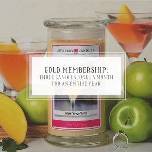 Candle Of The Month Club | Gold Package | Three Candles, Once A Month, For 12 Months-The Official Website of Jewelry Candles - Find Jewelry In Candles!