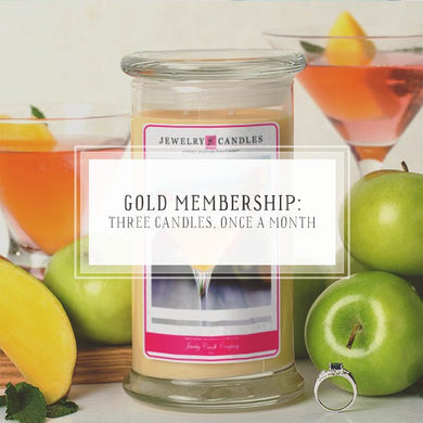 Candle Of The Month Club | Gold Package | Three Candles, Once Per Month-The Official Website of Jewelry Candles - Find Jewelry In Candles!
