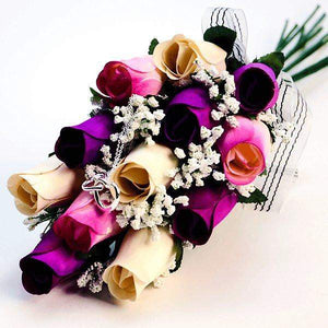 Cream, Deep Purple, & Lavender Ombré Dozen Bouquet | Jewelry Roses®-White, Lavender and White with Lavender Tipped Wax Roses Bouquet-The Official Website of Jewelry Candles - Find Jewelry In Candles!