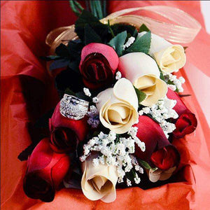 Red & Cream Bouquet | Jewelry Roses®-Red and Cream Wax Roses-The Official Website of Jewelry Candles - Find Jewelry In Candles!