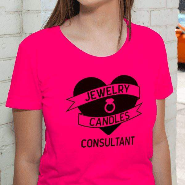 Black on Hot Pink Heart Banner Short-Sleeve Shirt - Jewelry Clothing-Jewelry Apparel-The Official Website of Jewelry Candles - Find Jewelry In Candles!