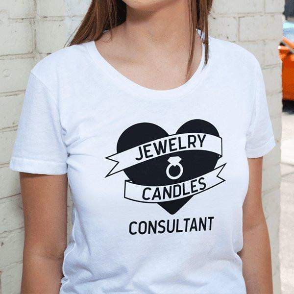 Black On White Heart Banner Short-Sleeve Shirt - Jewelry Clothing-Jewelry Apparel-The Official Website of Jewelry Candles - Find Jewelry In Candles!