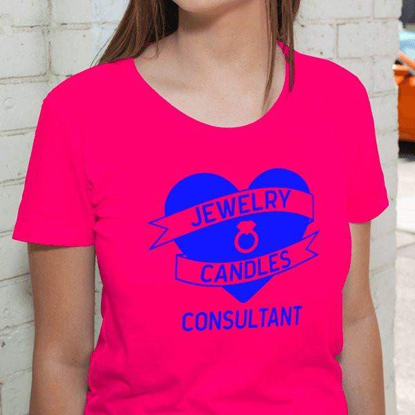 Blue on Hot Pink Heart Banner Short-Sleeve Shirt - Jewelry Clothing-Jewelry Apparel-The Official Website of Jewelry Candles - Find Jewelry In Candles!