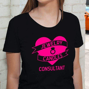 Hot Pink On Black Heart Banner Short-Sleeve Shirt - Jewelry Clothing-Jewelry Apparel-The Official Website of Jewelry Candles - Find Jewelry In Candles!