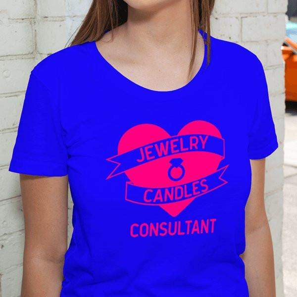 Hot Pink on Blue Heart Banner Short-Sleeve Shirt - Jewelry Clothing-Jewelry Apparel-The Official Website of Jewelry Candles - Find Jewelry In Candles!