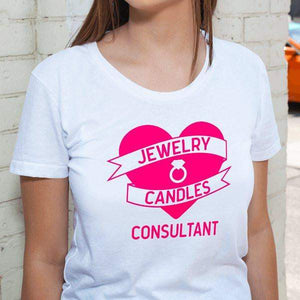 Hot Pink On White Heart Banner Short-Sleeve Shirt - Jewelry Clothing-Jewelry Apparel-The Official Website of Jewelry Candles - Find Jewelry In Candles!