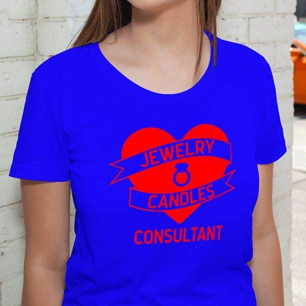 Red on Blue Heart Banner Short-Sleeve Shirt - Jewelry Clothing-Jewelry Apparel-The Official Website of Jewelry Candles - Find Jewelry In Candles!