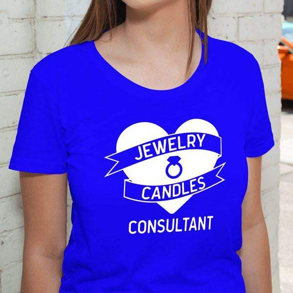 White on Blue Heart Banner Short-Sleeve Shirt - Jewelry Clothing-Jewelry Apparel-The Official Website of Jewelry Candles - Find Jewelry In Candles!