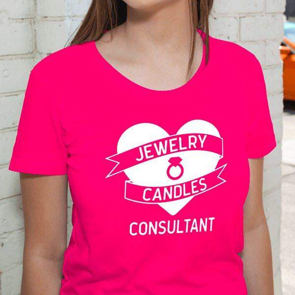 White on Hot Pink Heart Banner Short-Sleeve Shirt - Jewelry Clothing-Jewelry Apparel-The Official Website of Jewelry Candles - Find Jewelry In Candles!