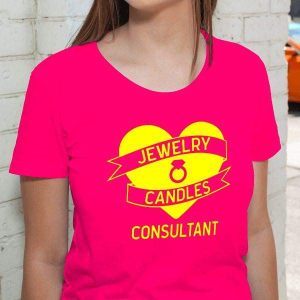 Yellow on Hot Pink Heart Banner Short-Sleeve Shirt - Jewelry Clothing-Jewelry Apparel-The Official Website of Jewelry Candles - Find Jewelry In Candles!