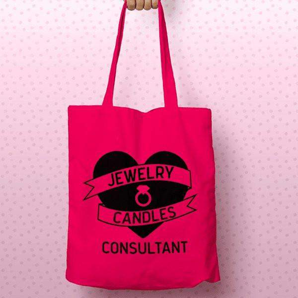 Black on Hot Pink Heart Banner Canvas Tote Bag - Jewelry Clothing-Jewelry Clothing-The Official Website of Jewelry Candles - Find Jewelry In Candles!