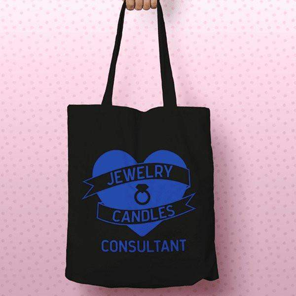 Blue on Black Heart Banner Canvas Tote Bag - Jewelry Clothing-Jewelry Clothing-The Official Website of Jewelry Candles - Find Jewelry In Candles!