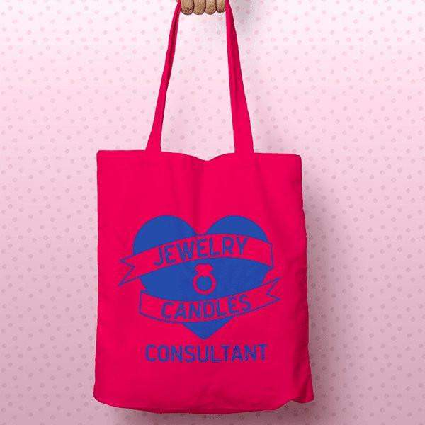 Blue on Hot Pink Heart Banner Canvas Tote Bag - Jewelry Clothing-Jewelry Clothing-The Official Website of Jewelry Candles - Find Jewelry In Candles!