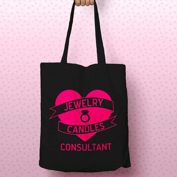 Hot Pink on Black Heart Banner Canvas Tote Bag - Jewelry Clothing-Jewelry Clothing-The Official Website of Jewelry Candles - Find Jewelry In Candles!