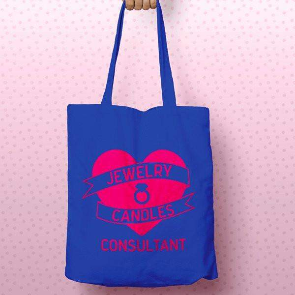 Hot Pink on Blue Heart Banner Canvas Tote Bag - Jewelry Clothing-Jewelry Clothing-The Official Website of Jewelry Candles - Find Jewelry In Candles!