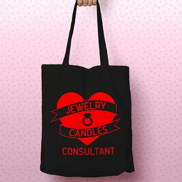 Red on Black Heart Banner Canvas Tote Bag - Jewelry Clothing-Jewelry Clothing-The Official Website of Jewelry Candles - Find Jewelry In Candles!