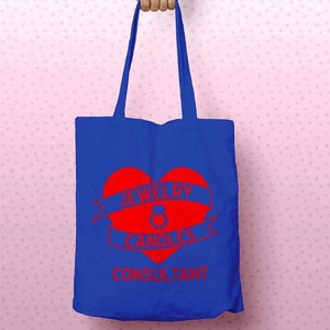 Red on Blue Heart Banner Canvas Tote Bag - Jewelry Clothing-Jewelry Clothing-The Official Website of Jewelry Candles - Find Jewelry In Candles!
