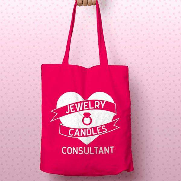 White On Hot Pink Heart Banner Canvas Tote Bag - Jewelry Clothing-Jewelry Clothing-The Official Website of Jewelry Candles - Find Jewelry In Candles!