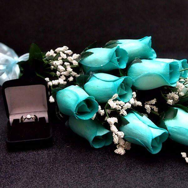 Baby Blue Wax Dipped Roses Bouquet-Wax Dipped Roses-The Official Website of Jewelry Candles - Find Jewelry In Candles!