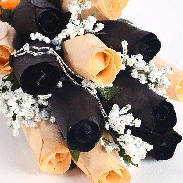 Black & Peach Wax Dipped Roses Bouquet-Wax Dipped Roses-The Official Website of Jewelry Candles - Find Jewelry In Candles!