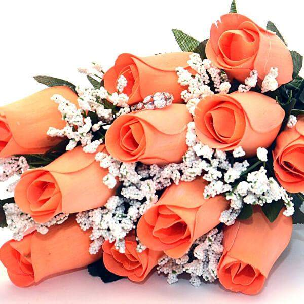 Georgia Peach Wax Dipped Roses Bouquet-Georgia Peach Bouqet-The Official Website of Jewelry Candles - Find Jewelry In Candles!