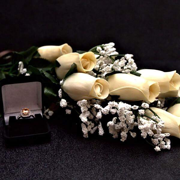 Cream Wax Dipped Roses Bouquet-Wax Dipped Roses-The Official Website of Jewelry Candles - Find Jewelry In Candles!