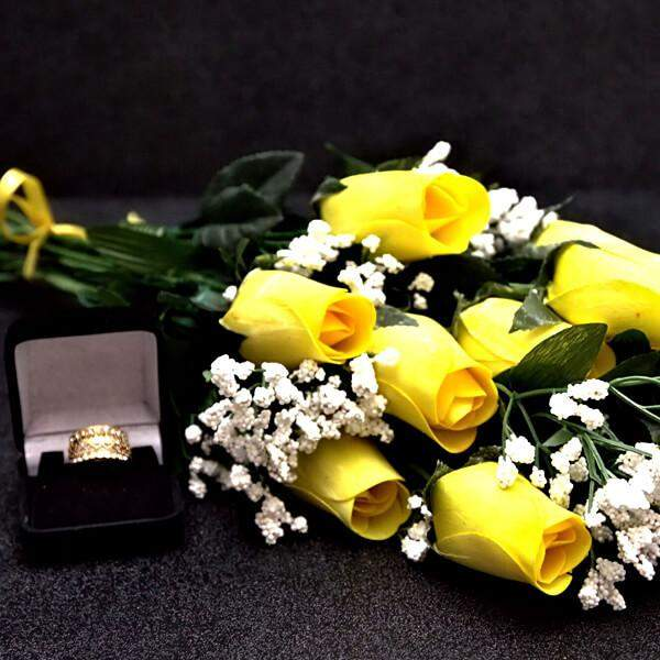 Yellow Wax Dipped Dozen Roses - The Official Website of Jewelry Candles - Find Jewelry In Candles! - 1
