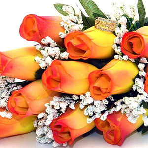 Yellow With Orange Tips Fall Wax Roses Bouquet-Wax Dipped Roses-The Official Website of Jewelry Candles - Find Jewelry In Candles!