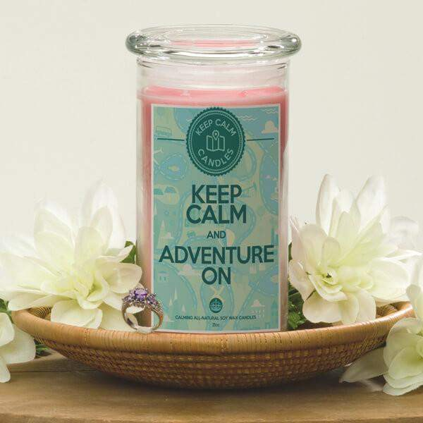 Keep Calm And Adventure On - Keep Calm Candles-Keep Calm Candles-The Official Website of Jewelry Candles - Find Jewelry In Candles!