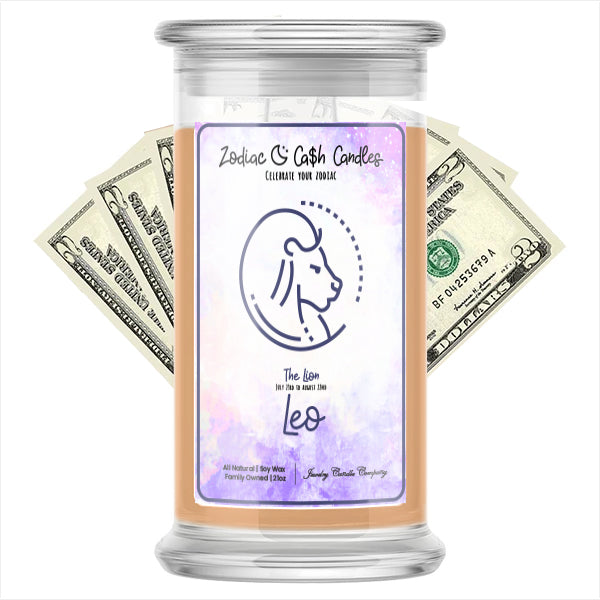 Leo Zodiac Cash Candle