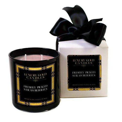 Freshly Picked Strawberries Luxury Gold Candles-Luxury Gold Candle-The Official Website of Jewelry Candles - Find Jewelry In Candles!
