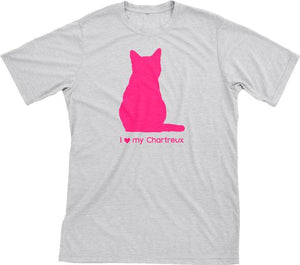 I Love My Chartreux | Must Love Cats® Hot Pink On Heathered Grey Short Sleeve T-Shirt-Must Love Cats® T-Shirts-The Official Website of Jewelry Candles - Find Jewelry In Candles!