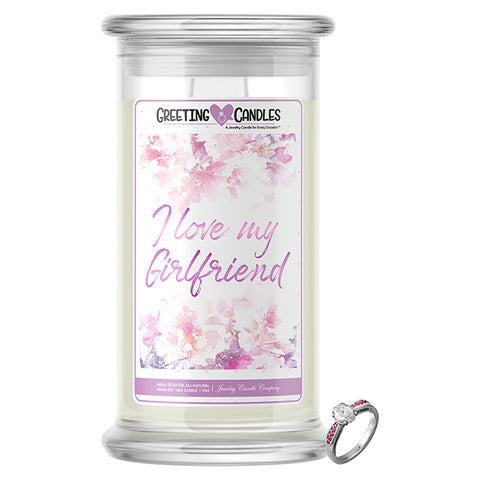 I Love My Girlfriend Jewelry Greeting Candle