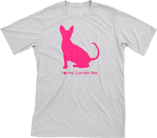 I Love My Cornish Rex | Must Love Cats® Hot Pink On Heathered Grey Short Sleeve T-Shirt-Must Love Cats® T-Shirts-The Official Website of Jewelry Candles - Find Jewelry In Candles!