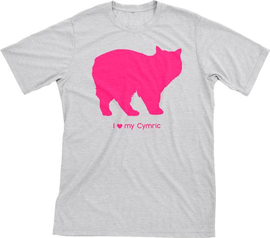 I Love My Cymric | Must Love Cats® Hot Pink On Heathered Grey Short Sleeve T-Shirt-Must Love Cats® T-Shirts-The Official Website of Jewelry Candles - Find Jewelry In Candles!