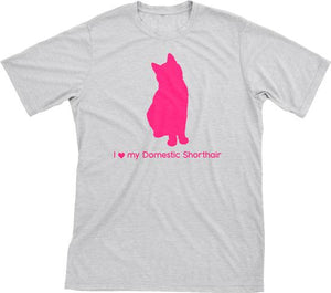I Love My Domestic Shorthair | Must Love Cats® Hot Pink On Heathered Grey Short Sleeve T-Shirt-Must Love Cats® T-Shirts-The Official Website of Jewelry Candles - Find Jewelry In Candles!