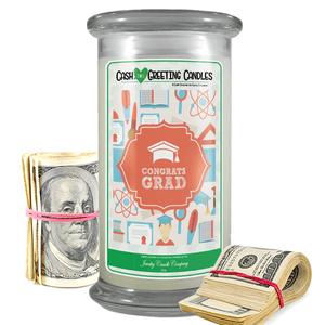 Congrats Grad | Cash Greeting Candle-Cash Greeting Candles-The Official Website of Jewelry Candles - Find Jewelry In Candles!