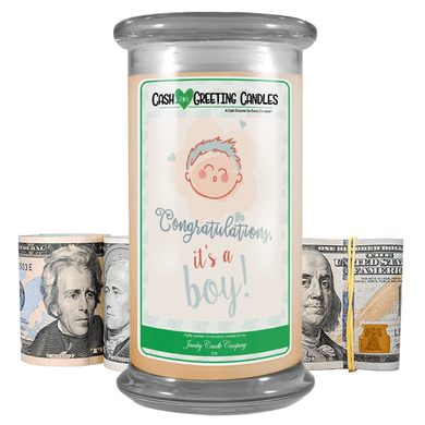 Congratulations, It's A Boy! | Cash Greeting Candle-Cash Greeting Candles-The Official Website of Jewelry Candles - Find Jewelry In Candles!