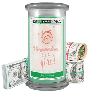 Congratulations, It's A Girl! | Cash Greeting Candle-Cash Greeting Candles-The Official Website of Jewelry Candles - Find Jewelry In Candles!