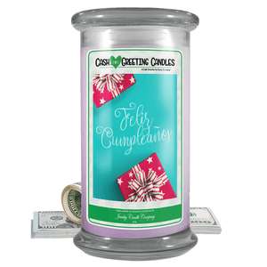 Feliz Cumpleaños | Cash Greeting Candle-Cash Greeting Candles-The Official Website of Jewelry Candles - Find Jewelry In Candles!