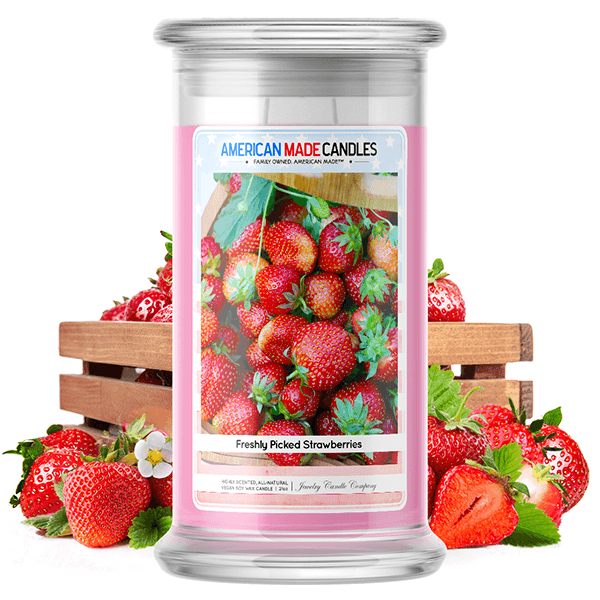 Freshly Picked Strawberries | American Made Candle®-American Made Candles | Family Owned. American Made. Jewelry Candles-The Official Website of Jewelry Candles - Find Jewelry In Candles!