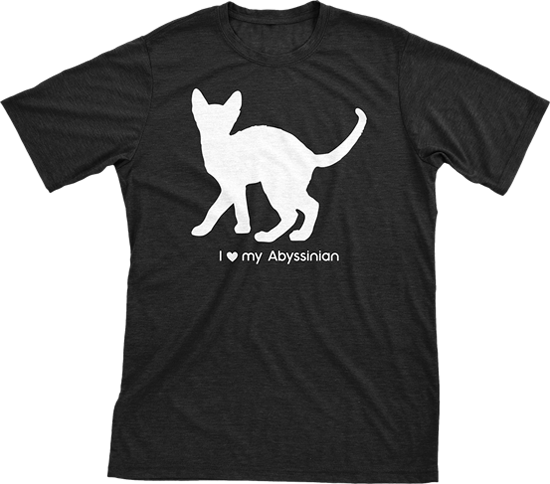 I love my Abyssinian | Must Love Cats® White on Black Short Sleeve T-Shirt-Must Love Cats® T-Shirts-The Official Website of Jewelry Candles - Find Jewelry In Candles!